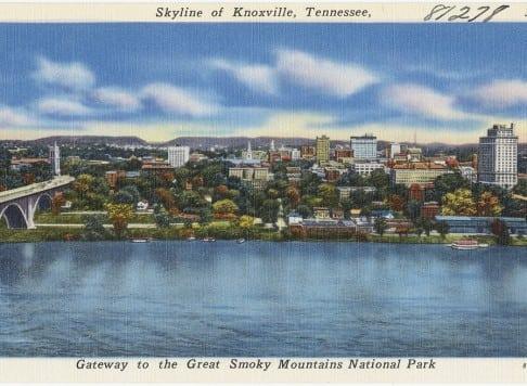 vintage postcard of knoxville skyline